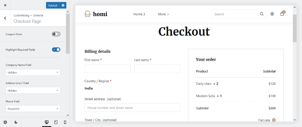 Checkout page customization in Blocksy