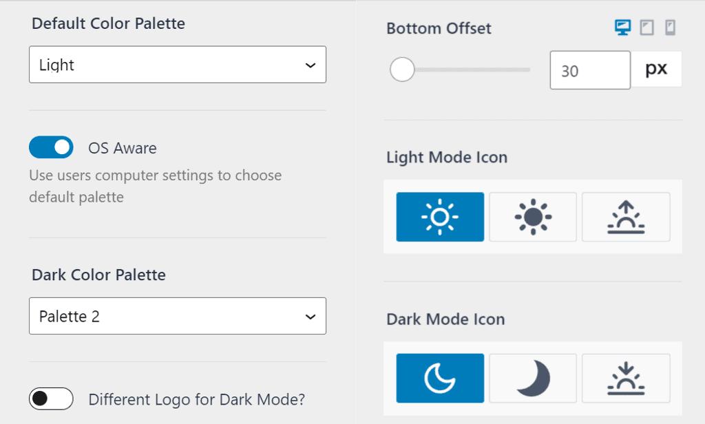 Kadence dark mode option in customizer